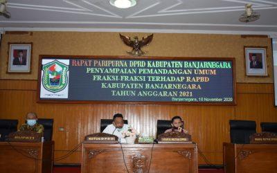 PARIPURNA PEMANDANGAN UMUM FRAKSI-FRAKSI DPRD MEMBAHAS RAPBD 2021