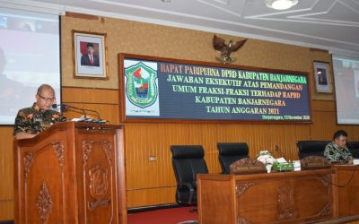 DPRD GELAR SIDANG PARIPURNA JAWABAN EKSEKUTIF PEMBAHASAN APBD 2021
